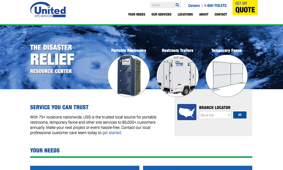 portable restrooms company website homepage