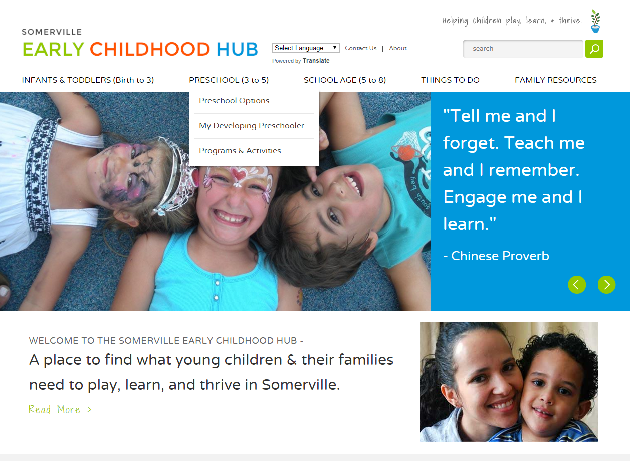 Somerville early childhood project hub web design