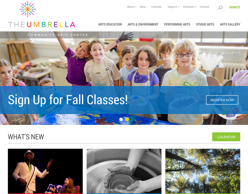 The Umbrella homepage website design