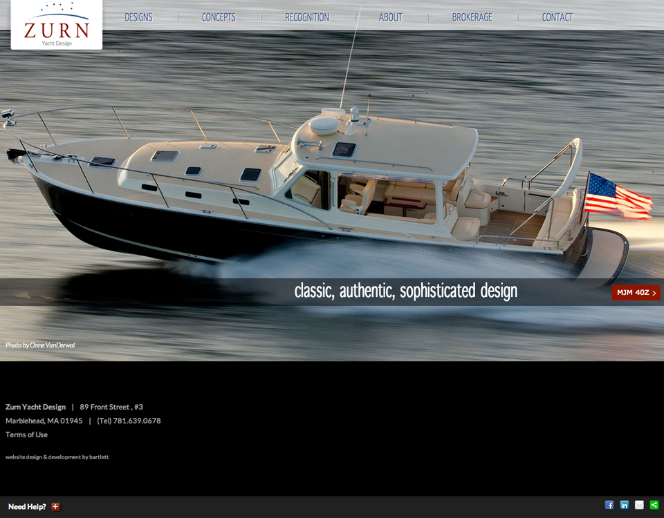 Zurn Yacht Design homepage web design