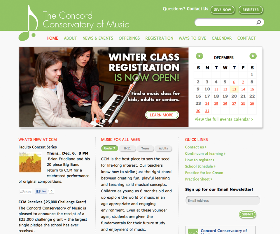 The Concord Conservatory of Music website homepage