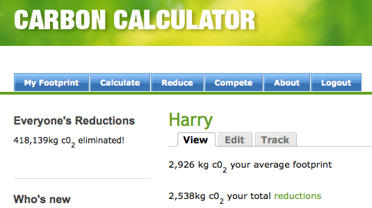 Carbon Calculator Screen Shot