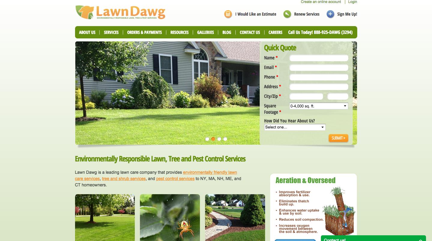Lawn care cta website design for Lawn treatment companies