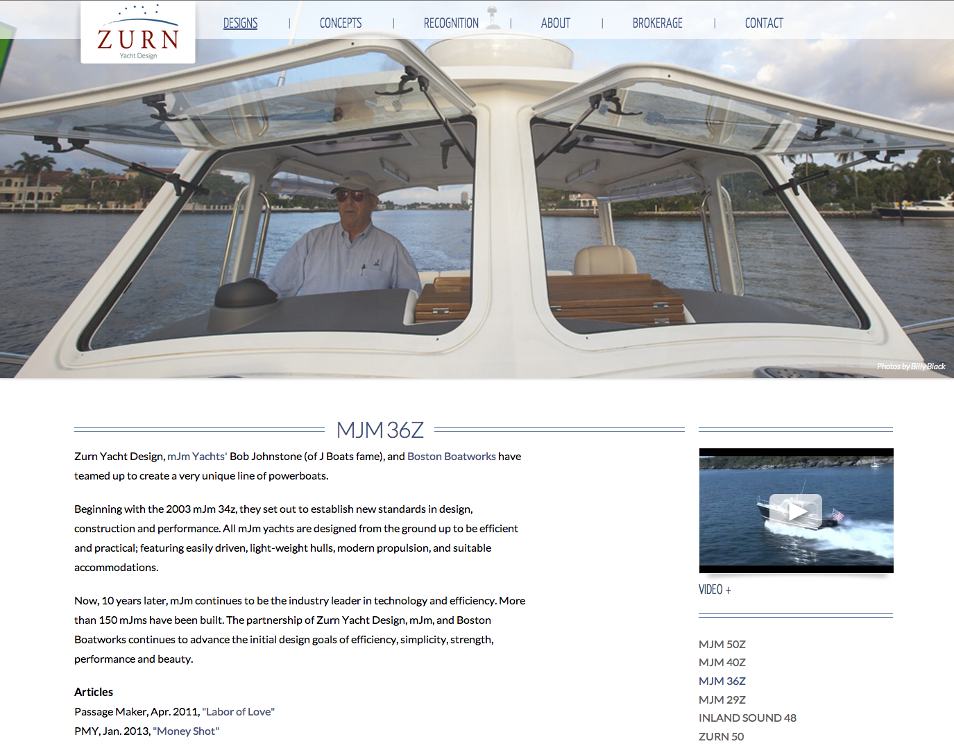 photo of visually stunning website Zurn Yacht